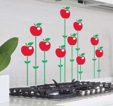 Kitchen Stickers - An illustration of various bright red apples emerging from the ground up, supported by green shoots. Decals great for decorating your kitchen or dinning area.