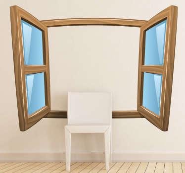 Muursticker getekend open raam