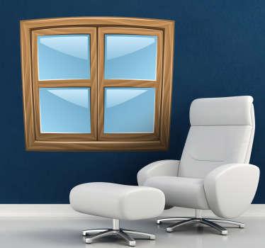 Sticker mural dessin fenêtres fermées