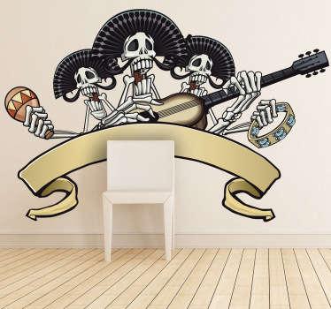 Vinilo decorativo esqueleto mariachis