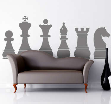 Chess wall sticker representing the pieces of a classical chessboard: pawn, king, queen, bishop, rook and knight. Perfect monochrome wall sticker to bring the room together and add some style to your home decor.