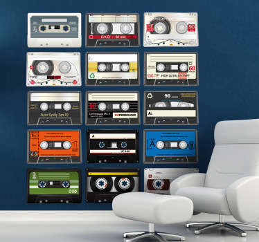 From our collection of music wall stickers - featuring a few classic cassettes. Use the cassette decal to give your wall a vintage look.