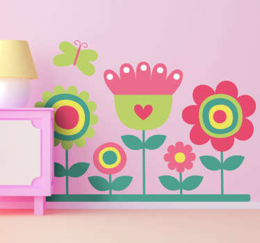 Kids Flower Stickers - Illustration of five colourful flowers with a butterfly hovering over. Looks great as a kids bedroom sticker or as a nursery wall sticker.