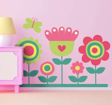 Renkli bahçe ve kelebek çıkartma