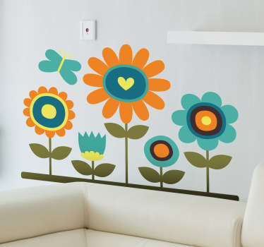 A cute and colourful design of five flowers with a fluttering butterfly. A lovely flower wall decal from our collection of daisy wall stickers.