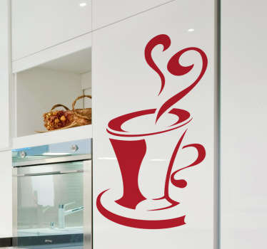Kitchen Stickers - Hot coffee design. Decorate your kitchen cabinets, kitchen appliances in a fun and original way.