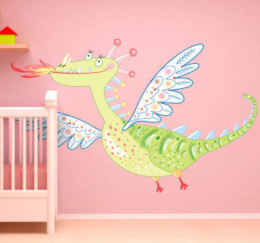 Kids Wall Stickers - Playful and fun illustration of a pretty flying dragon. Ideal for decorating areas for children. Available in various sizes.