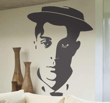Stickers illustrant le portrait de Buster Keaton, le célèbre acteur américain du cinéma muet.Sélectionnez les dimensions de votre choix pour