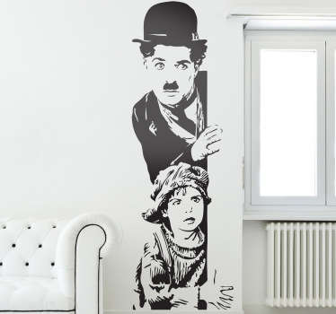 Charlie Chaplin wall sticker based on his 1921 film, The Kid, from our collection of classic movie wall stickers. Personalise your living room, dining room or bedroom with this quirky vintage decal to show off your love of great cinema.