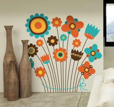 Sticker decorativo mazzo fiori colorati