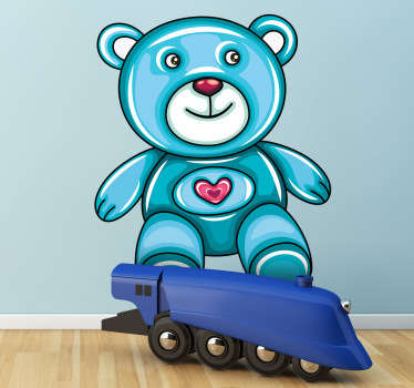 A fun blue teddy decal from our collection of teddy bear wall stickers to decorate your children's bedroom or play area.