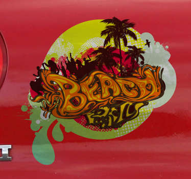A sticker with a colourful design of a fun party scene set on a paradisal beach with palm trees.