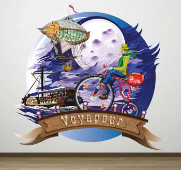 This wall sticker is about the story Around The World in 80 Days. The book is an adventure novel by the French writer Jules Verne.