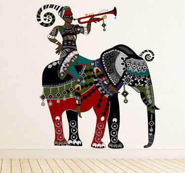 Sticker mural motifs éléphant trompette