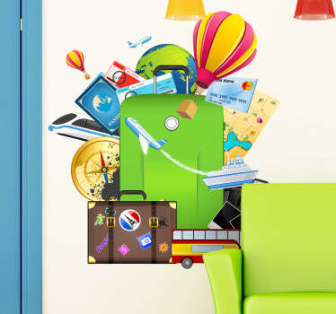 A bright and colourful wall sticker that is ideal for people who love to travel. Apply easily to any flat surface and remove without leaving residue.