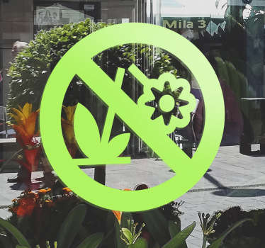 A sign-age sticker to indicate to that it is forbidden to pick flowers from this area. Ideal for shop entrances and commercial zones.