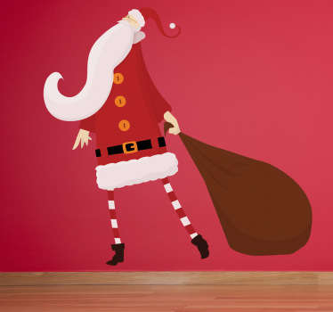 A wall sticker representing Father christmas and his gift bag.