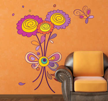 Decals - Vibrant bouquet of flowers accompanied by small hovering colourful butterfly. Available in various sizes.