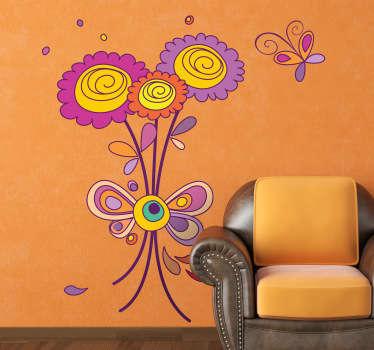 Sticker decoratie bloemen vlinder