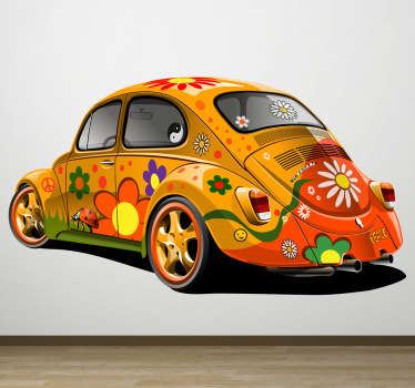 Bounce back to the 60s with this beetle wall sticker. The hippie wall sticker has a beetle car decorated in bright colourful flowers and peace signs.