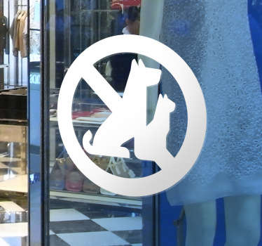 No animals allowed window sticker available in a variety of different colours and sizes. This sticker is for sticking to a window or wall in a shop or restaurant to tell customers that dogs, cats and other pets are prohibited inside.