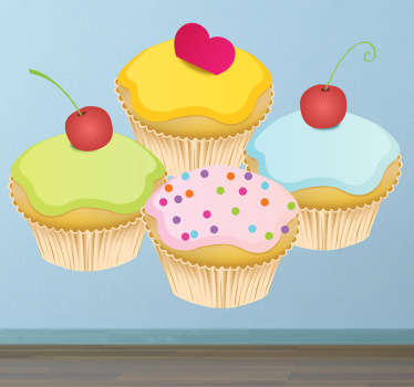 Wall Stickers - Decals - Illustration of four tasty and delicious cupcakes topped with either cherries, sprinkles and a heart.