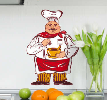 Kitchen Stickers - Illustration of a cook at work. Ideal for decorating your kitchen or cooking area.