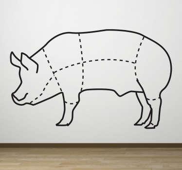 Vinilo decorativo piezas cerdo