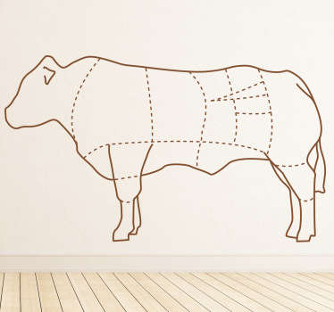 Wall Stickers - An outline diagram that marks the parts of a cow. Great for businesses such as a butchers or a restaurant.