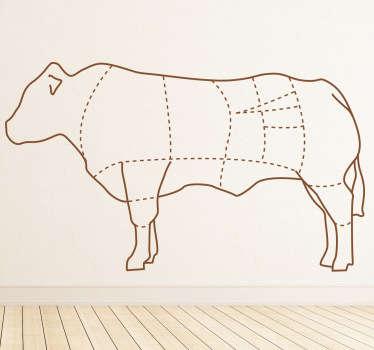 Naklejka dekoracyjna części krowy