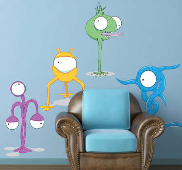 Decorate your child's room with this wall sticker of four funny, odd-shaped monsters in different colors.