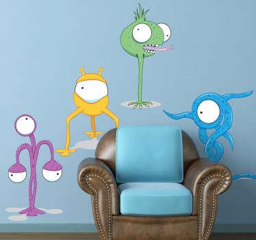 Naklejka dziecięca cztery brzydkie potwory