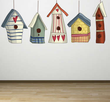 Kids wall sticker illustrating five colourful bird houses. Superb sticker for decorating your walls and bringing some colour to your home decor. Hanging wooden bird cages with love hearts on to brighten up your life.