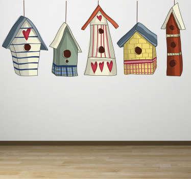 Kuş evleri duvar sticker
