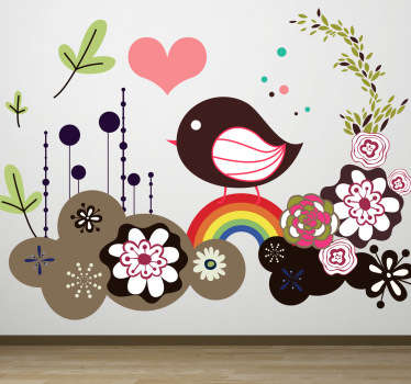 Kids Wall Stickers - Colourful illustration of a sparrow bird surrounded by flowers and hearts. Distinctive feature available in various sizes.