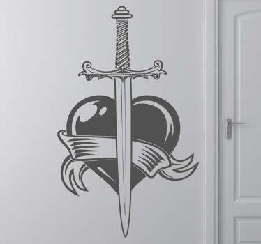 Heart and Sword Wall Sticker