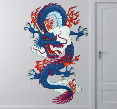 Awesome Chinese dragon wall sticker inspired by classic Asian artwork, from our collection of oriental wall decals Stunning design of a fiery blue and red dragon in the clouds perfect for personalising any bedroom or teen's room.