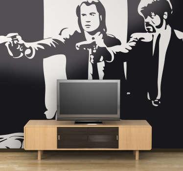 Espectacular adhesivo de John Travolta y Samuel L. Jackson en los papeles interpretados en el film de Quentin Tarantino.