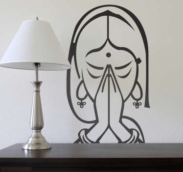 A decorative sticker of a woman meditating. A wall decal inspired in the Asian culture.