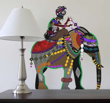 Vinilo decorativo jinete elefante