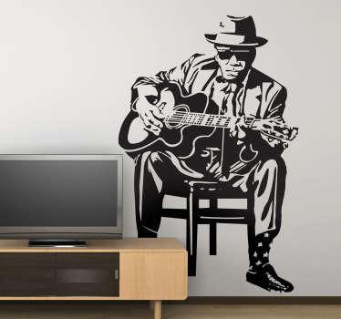 sticker figuur John Lee Hooker gitaar