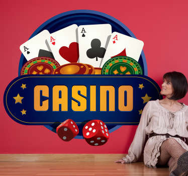 Wall Stickers - Casino theme design. Vibrant and distinctive illustration available in various size. Great for events and the game room.