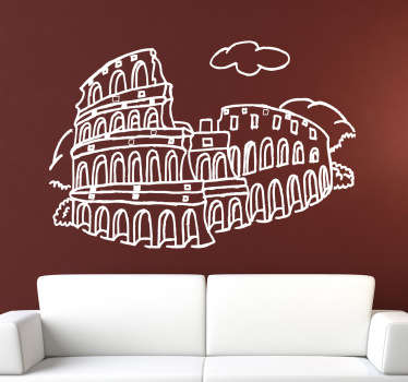 Room Stickers - illustration of an historical landmark - The Colosseum - Emblem of Rome.Wall Decals ideal for decorating your home.