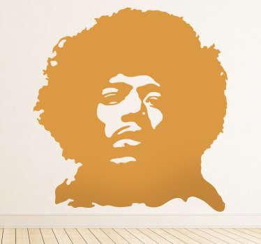 Naklejka dekoracyjna z postacią powszechnie rozpoznawalnego amerykańskiego gitarzysty, wokalisty i autora tekstów Jimiego Hendrix'a.