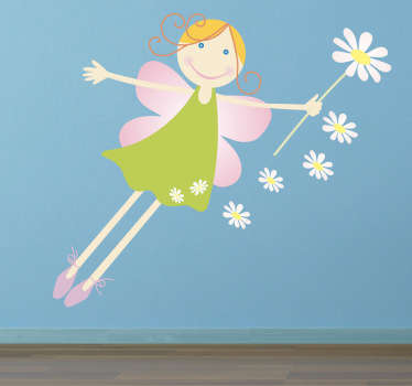 Fairy wall sticker illustrating a lovely flying fairy with her magic flowery wand. Great kids wall sticker for decorating a girl's bedroom or play area, from our collection of fairy tale wall decals. Colourful wall sticker to bring some magic to the home decor of your daughter's room.