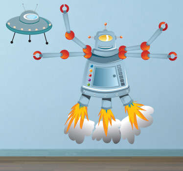 Playful illustration of a curious mechanical alien with four arms and a small spaceship from our collection of robot wall stickers.