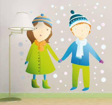 Muursticker Kinderen Winterdag