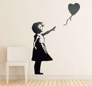 "Silhoutte wall sticker of the famous piece of street art by Banksy, ""Girl With a Balloon"". A great design from our collection of Banksy wall stickers. If you love his artwork this is for you."