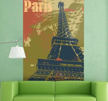 Adesivo murale che raffigura un manifesto della capitale francese con la Torre Eiffel che troneggia in primo piano. Ideale per decorare il soggiorno o la camera da letto.
