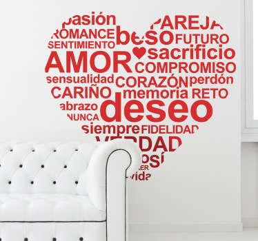 Original adhesivo con toda una serie de conceptos relacionados con el amor y el mundo de la pareja.